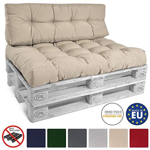 Beautissu Style Palettenkissen Premium Sitzkissen 120x80x15 cm – Stylische Sitzauflage für Europaletten Palettenmöbel – Indoor & Outdoor Palettenpolster in Natur