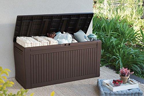 Koll Living Auflagenbox/Kissenbox 270 Liter l 100% Wasserdicht l mit Belüftung dadurch kein übler Geruch/Schimmel l Moderne Holzoptik l Deckel belastbar bis 250 KG (2 Personen)