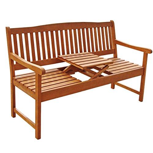 IND-70032-GB3TI Gartenbank 3-Sitzer Sun Flair, Sitzbank aus Holz mit Klapptisch - 150 x 61 x 88 cm