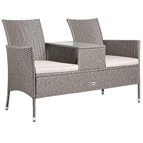 Casaria Poly Rattan Gartenbank 2-Sitzer Tisch In Der Mitte Auflage Wetterfest 143 cm Garten Balkon Kinobank Bank Creme