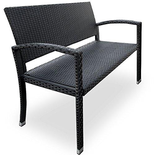 Deuba Gartenbank Poly Rattan 2-Sitzer UV-Lichtbeständig Sitzkomfort Parkbank Bank Sitzbank