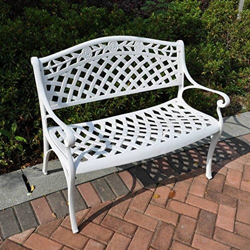 Lazy Susan - Rose Gartenbank aus Aluminium, Weiß (Beiges Kissen)