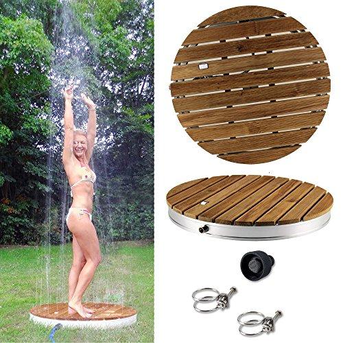 @tec Gartendusche Aussendusche aus massivem Teak-Holz, Mobile Bodendusche Campingdusche, Sauna- & Pool-Dusche rund mit Bodenplatte für den Garten, Outdoor Shower