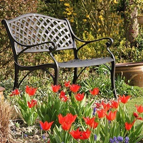 Lazy Susan - Jasmin Metallgartenbank - Antik Bronze, Wetterfeste Gartenbank aus Aluminium | Garten | Aluguss | Rostfrei
