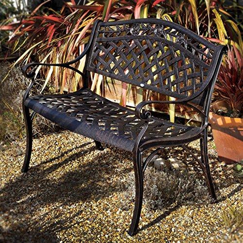 Lazy Susan - Rose Gartenbank aus Aluminium, Antik Bronze (Blaues Kissen)