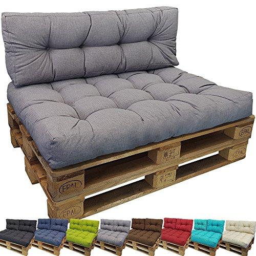 DILUMA Palettenkissen Comfort Sitzkissen 120x80 cm Grau - Palettensofa Indoor/Outdoor schmutz- und Wasserabweisende Palettenauflage Palettenpolster für Europaletten